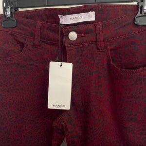 Mango Casual Red Cheetah Print Skinny Jeans Size 2